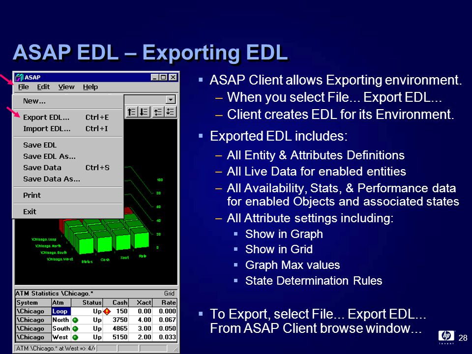 28 ASAP EDL – Exporting EDL  ASAP Client allows Exporting environment.