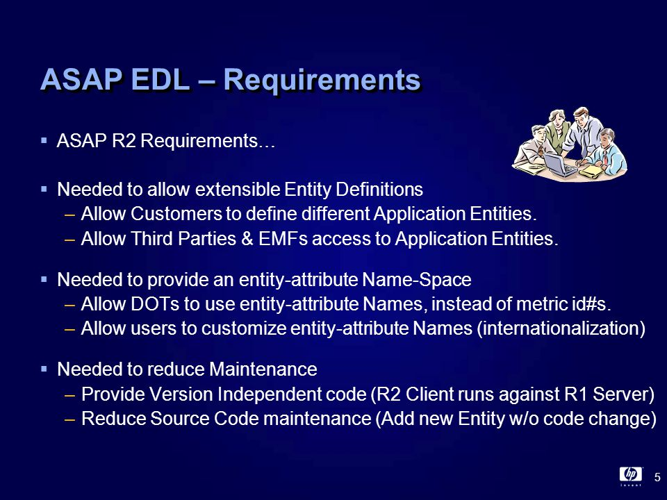 16 ASAP EDL - Statements  ENTITY statement –Defines entity name and properties (eg SQL Table) –ENTITY Atm Help Automated Teller Machine  ATTRIBUTE statement –Defines entity attribute names and properties (eg SQL Columns) –ATTRIBUTE System Help System Name ATTRIBUTE Atm Help Atm Name ATTRIBUTE Status Help Atm Status ATTRIBUTE Cash Help Cash in Atm  DATA statement –Defines data associated with entity –DATA ATM System Atm Status Cash -------- ----- ------ ---- \Chicago Loop Up 150 \Chicago North Up 3750