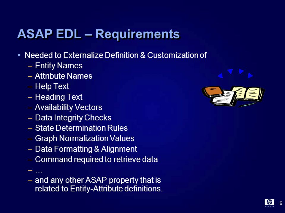 17 ASAP EDL - ENTITY statement  Entity statement defines entity properties  ENTITY ATM Enabled YES Command APP \* ATM,RAW,TAB,STATE Help Automated Teller Machine KeyForNode System KeyForObj Atm KeyForRow Date Time ;  DATA ATM System Atm Status Op Date Time Cash -------- ----- ------ -- ---------- ----- ---- \Chicago Loop Up 2 2000/11/15 10:00 150 \Chicago North Down 8 2000/11/15 10:00 3750