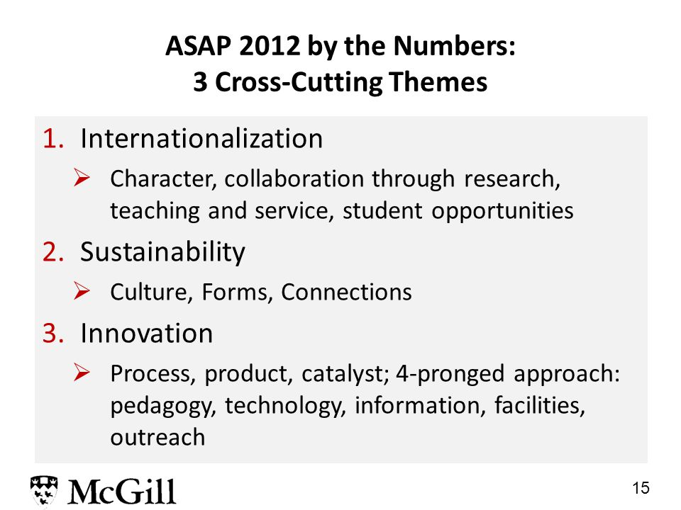 15 ASAP 2012 by the Numbers: 3 Cross-Cutting Themes 1.Internationalization  Character, collaboration through research, teaching and service, student opportunities 2.Sustainability  Culture, Forms, Connections 3.Innovation  Process, product, catalyst; 4-pronged approach: pedagogy, technology, information, facilities, outreach