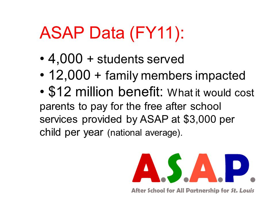 ASAP Data (FY11): 4,000 + students served 12,000 + family members impacted $12 million benefit: What it would cost parents to pay for the free after school services provided by ASAP at $3,000 per child per year (national average).
