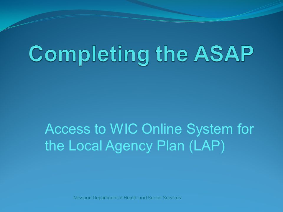 Access to WIC Online System for the Local Agency Plan (LAP) Missouri Department of Health and Senior Services