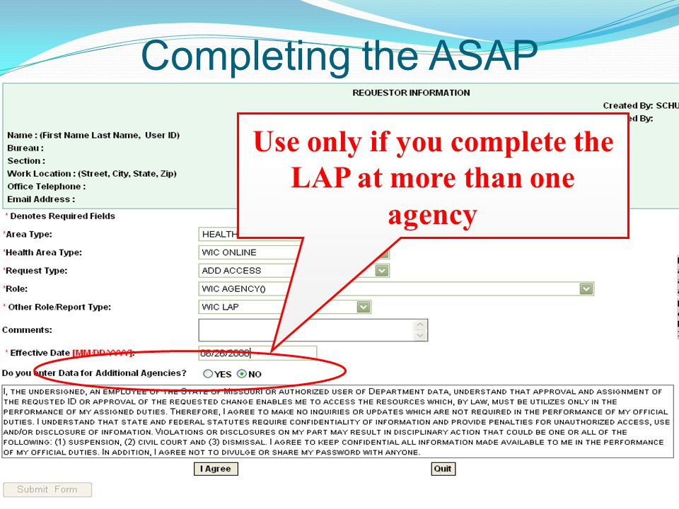 Completing the ASAP Use only if you complete the LAP at more than one agency