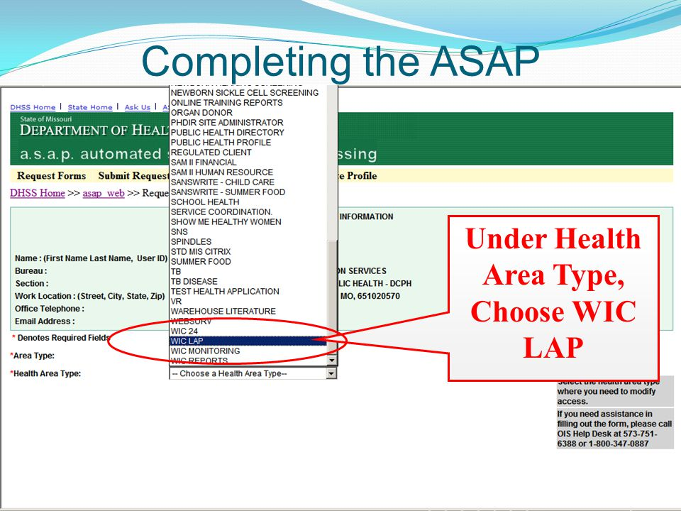 Completing the ASAP Under Health Area Type, Choose WIC LAP