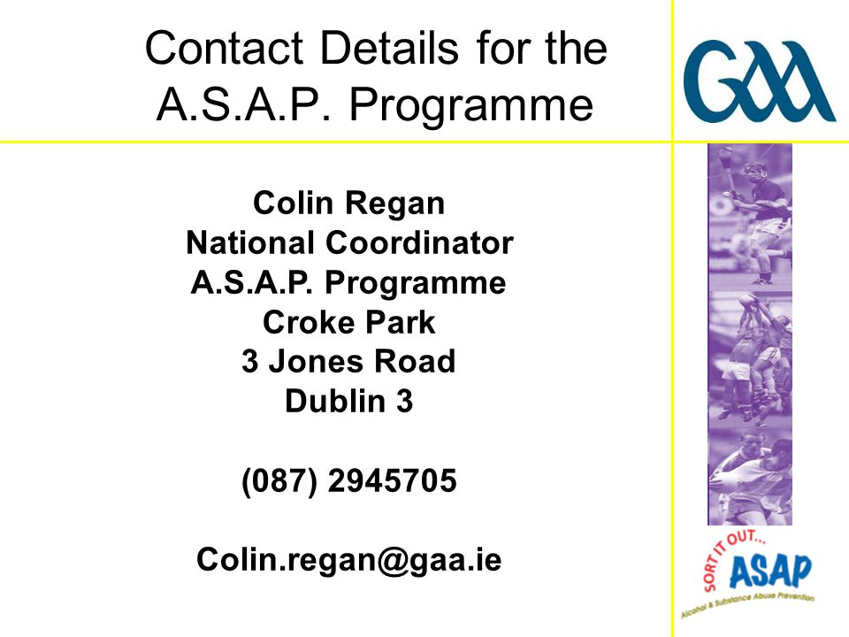 Colin Regan National Coordinator A.S.A.P.