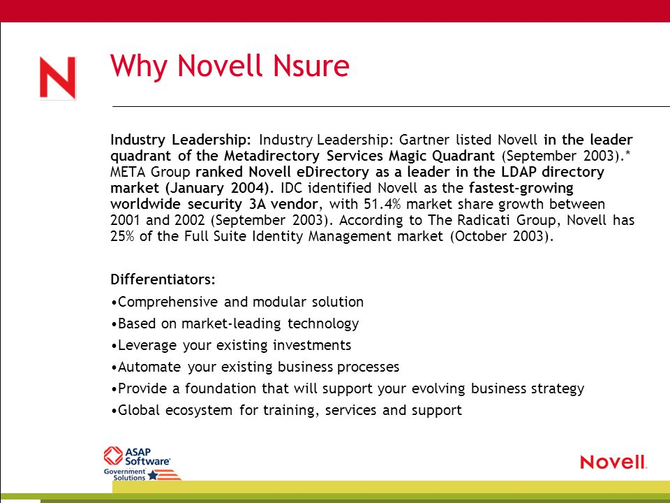 Why Novell Nsure Industry Leadership: Industry Leadership: Gartner listed Novell in the leader quadrant of the Metadirectory Services Magic Quadrant (