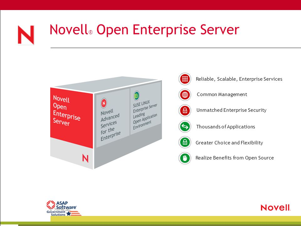 © Novell Inc. Novell ® Open Enterprise Server Greater Choice and Flexibility Unmatched Enterprise SecurityCommon Management Realize Benefits from Open