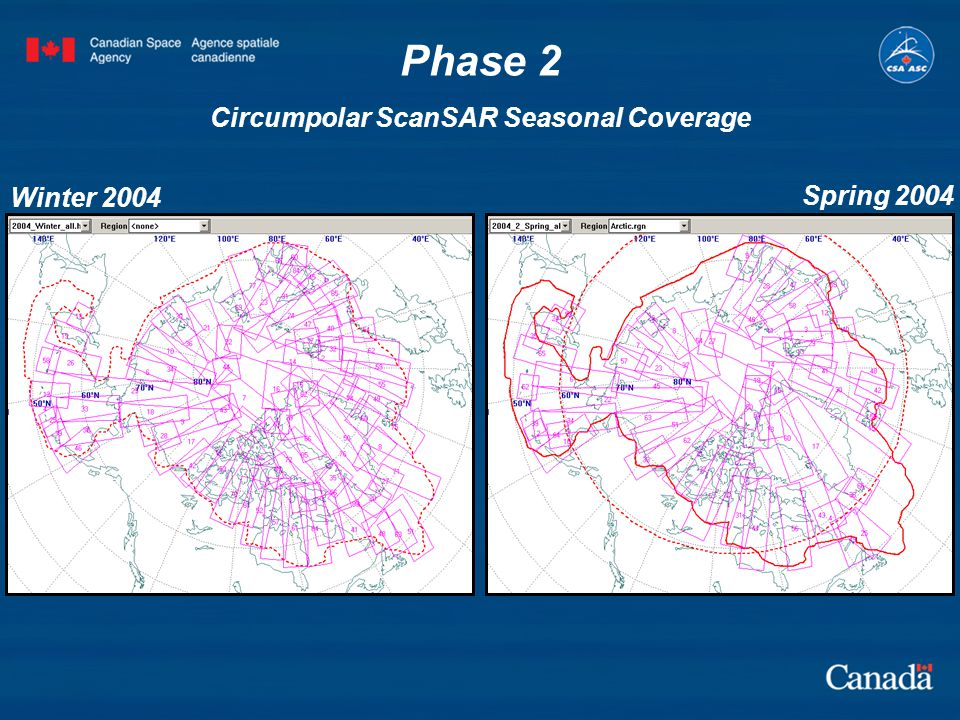 Phase 2 Circumpolar ScanSAR Seasonal Coverage Winter 2004 Spring 2004