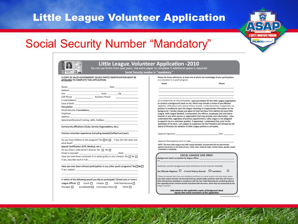 Little League Volunteer Application Social Security Number Mandatory