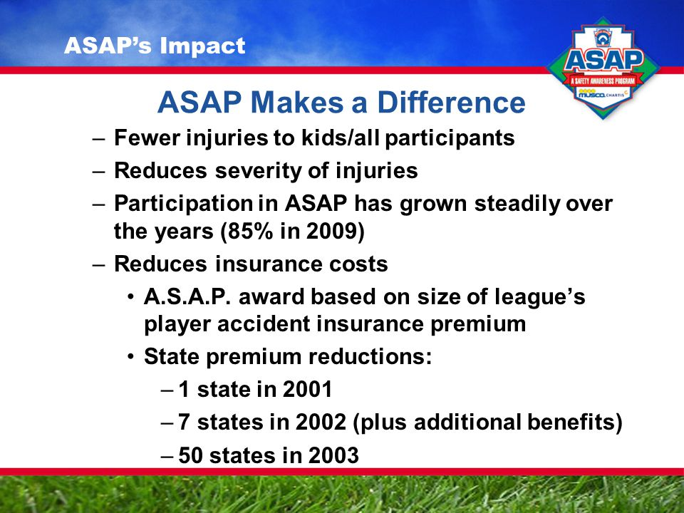 ASAP Makes a Difference –Fewer injuries to kids/all participants –Reduces severity of injuries –Participation in ASAP has grown steadily over the years (85% in 2009) –Reduces insurance costs A.S.A.P.