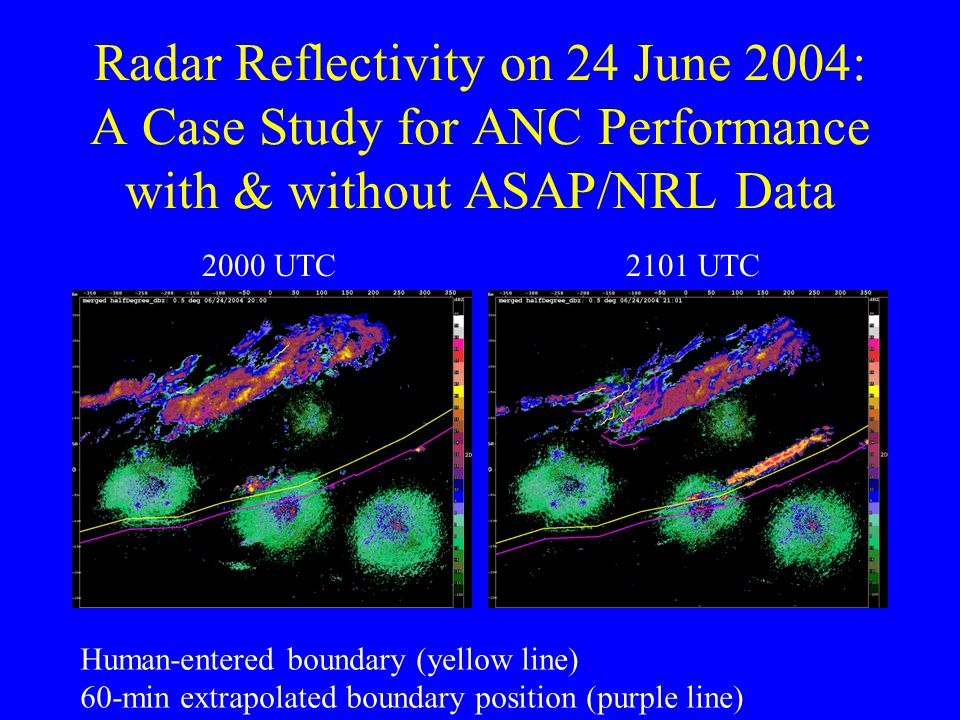 Radar Reflectivity on 24 June 2004: A Case Study for ANC Performance with & without ASAP/NRL Data 2000 UTC2101 UTC Human-entered boundary (yellow line