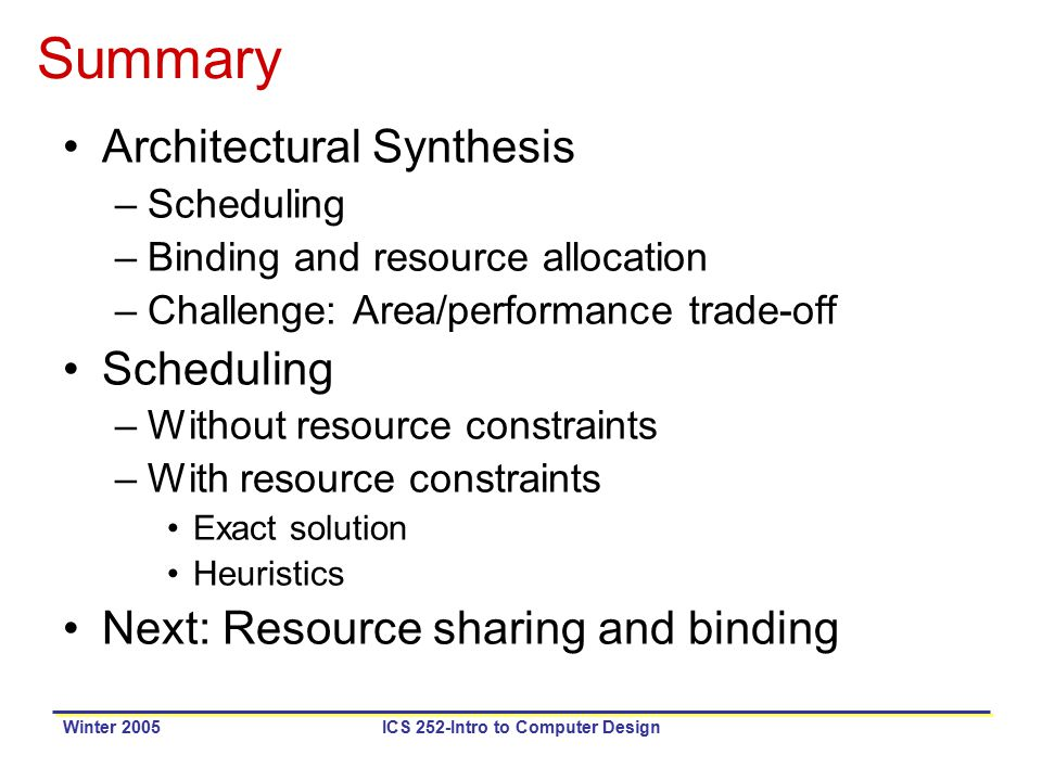 Winter 2005ICS 252-Intro to Computer Design Summary Architectural Synthesis –Scheduling –Binding and resource allocation –Challenge: Area/performance trade-off Scheduling –Without resource constraints –With resource constraints Exact solution Heuristics Next: Resource sharing and binding