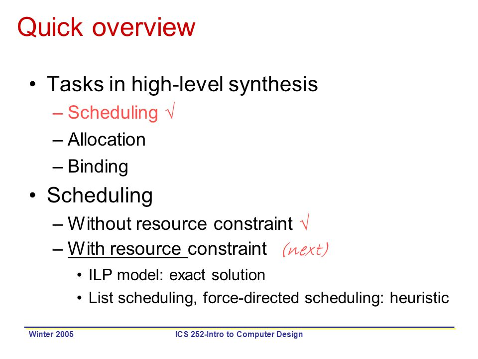 Winter 2005ICS 252-Intro to Computer Design Quick overview Tasks in high-level synthesis –Scheduling √ –Allocation –Binding Scheduling –Without resource constraint √ –With resource constraint (next) ILP model: exact solution List scheduling, force-directed scheduling: heuristic