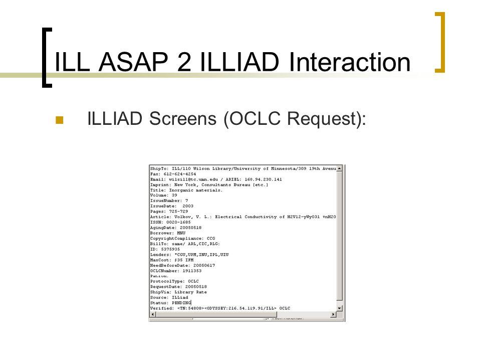 ILL ASAP 2 ILLIAD Interaction ILLIAD Screens (OCLC Request):