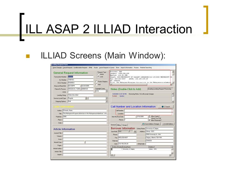 ILL ASAP 2 ILLIAD Interaction ILLIAD Screens (Main Window):