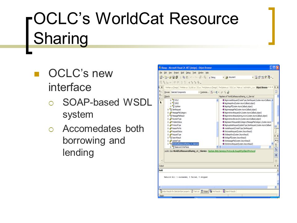 OCLC's WorldCat Resource Sharing OCLC's new interface  SOAP-based WSDL system  Accomedates both borrowing and lending