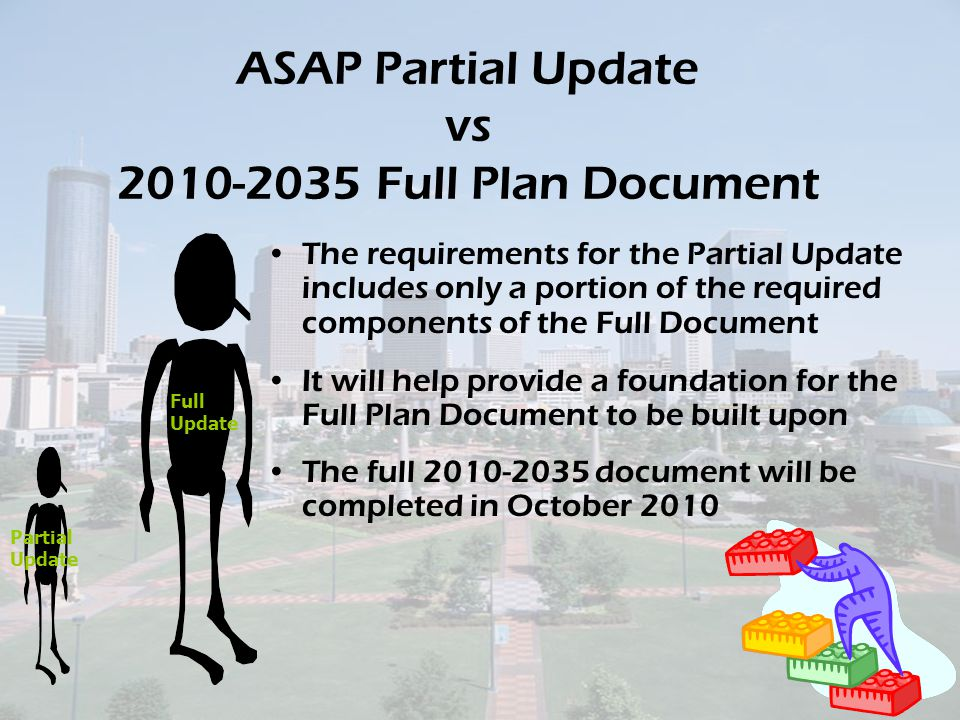 ASAP Partial Update vs 2010-2035 Full Plan Document The requirements for the Partial Update includes only a portion of the required components of the