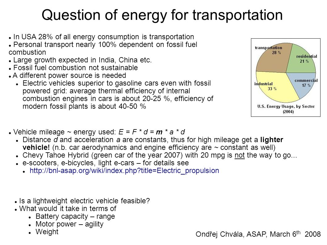 Question of energy for transportation In USA 28% of all energy consumption is transportation Personal transport nearly 100% dependent on fossil fuel combustion Large growth expected in India, China etc.