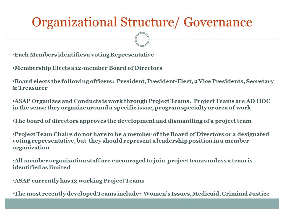 Organizational Structure/ Governance Each Members identifies a voting Representative Membership Elects a 12-member Board of Directors Board elects the following officers: President, President-Elect, 2 Vice Presidents, Secretary & Treasurer ASAP Organizes and Conducts is work through Project Teams.