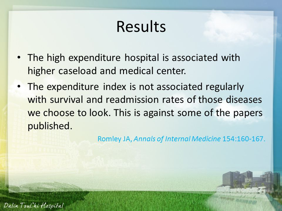Results The high expenditure hospital is associated with higher caseload and medical center.