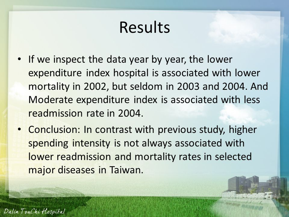 Results If we inspect the data year by year, the lower expenditure index hospital is associated with lower mortality in 2002, but seldom in 2003 and 2004.