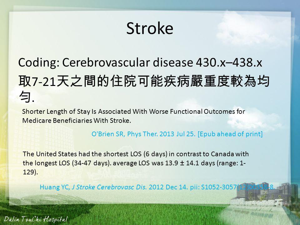 Stroke Coding: Cerebrovascular disease 430.x–438.x 取 7-21 天之間的住院可能疾病嚴重度較為均 勻.