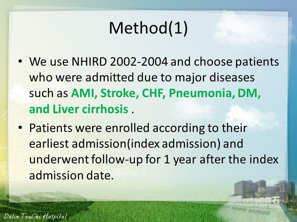Liver cirrhosis Mild liver disease 571.2, 571.4–571.6 =>filter out Moderate or severe liver disease 456.0– 456.21, 572.2–572.8 => including( 集中在較嚴 重的 case 上 )