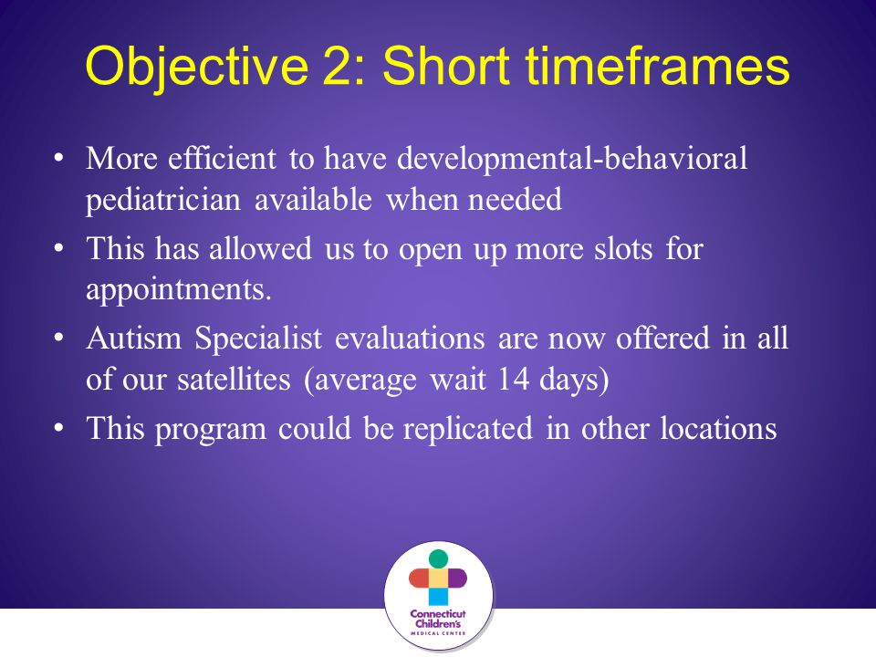 Objective 2: Short timeframes More efficient to have developmental-behavioral pediatrician available when needed This has allowed us to open up more slots for appointments.