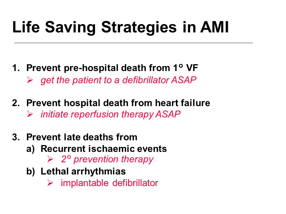 Life Saving Strategies in AMI 1.Prevent pre-hospital death from 1° VF  get the patient to a defibrillator ASAP 2.Prevent hospital death from heart failure  initiate reperfusion therapy ASAP 3.Prevent late deaths from a)Recurrent ischaemic events  2° prevention therapy b)Lethal arrhythmias  implantable defibrillator