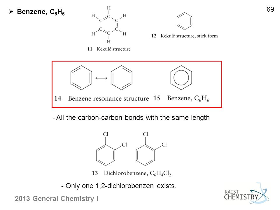 2013 General Chemistry I 69  Benzene, C 6 H 6 - All the carbon-carbon bonds with the same length - Only one 1,2-dichlorobenzen exists.