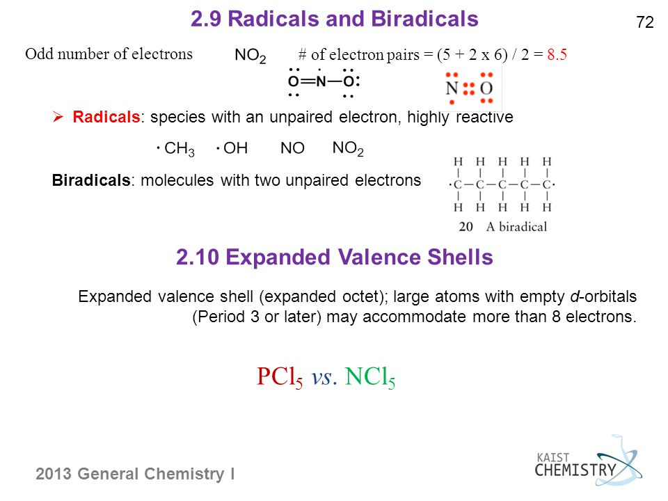 2013 General Chemistry I 2.9 Radicals and Biradicals 72  Radicals: species with an unpaired electron, highly reactive Biradicals: molecules with two unpaired electrons 2.10 Expanded Valence Shells Odd number of electrons # of electron pairs = (5 + 2 x 6) / 2 = 8.5 Expanded valence shell (expanded octet); large atoms with empty d-orbitals (Period 3 or later) may accommodate more than 8 electrons.