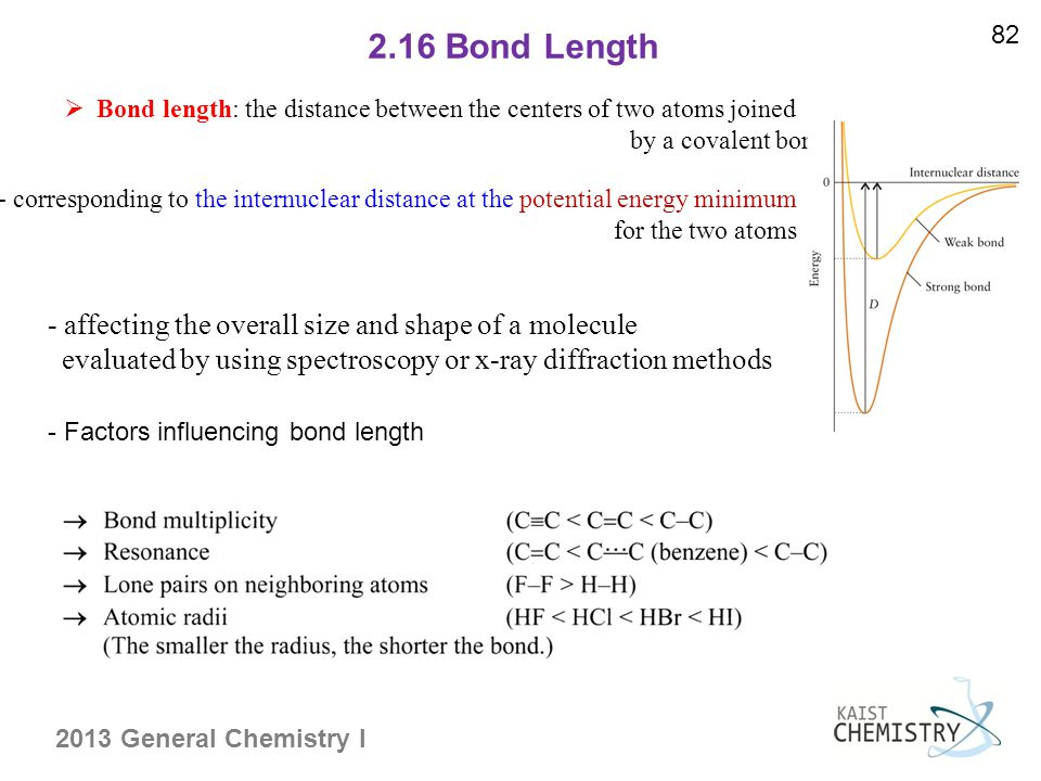 2013 General Chemistry I 2.16 Bond Length 82  Bond length: the distance between the centers of two atoms joined by a covalent bond - corresponding to the internuclear distance at the potential energy minimum for the two atoms - affecting the overall size and shape of a molecule evaluated by using spectroscopy or x-ray diffraction methods - Factors influencing bond length