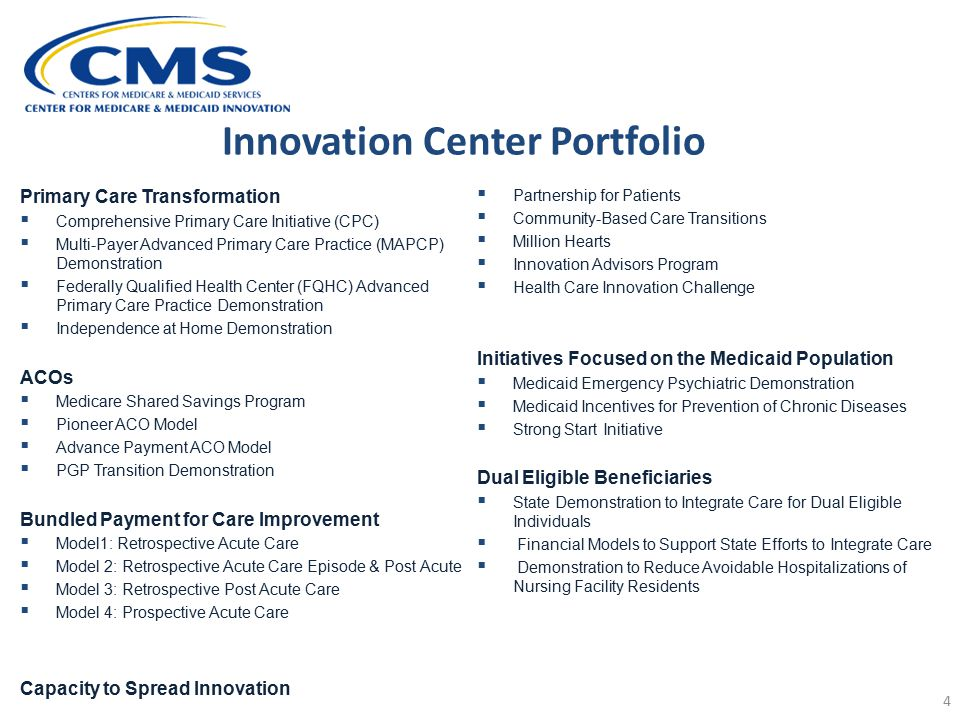 Innovation Center Portfolio 4 Primary Care Transformation  Comprehensive Primary Care Initiative (CPC)  Multi-Payer Advanced Primary Care Practice (MAPCP) Demonstration  Federally Qualified Health Center (FQHC) Advanced Primary Care Practice Demonstration  Independence at Home Demonstration ACOs  Medicare Shared Savings Program  Pioneer ACO Model  Advance Payment ACO Model  PGP Transition Demonstration Bundled Payment for Care Improvement  Model1: Retrospective Acute Care  Model 2: Retrospective Acute Care Episode & Post Acute  Model 3: Retrospective Post Acute Care  Model 4: Prospective Acute Care Capacity to Spread Innovation  Partnership for Patients  Community-Based Care Transitions  Million Hearts  Innovation Advisors Program  Health Care Innovation Challenge Initiatives Focused on the Medicaid Population  Medicaid Emergency Psychiatric Demonstration  Medicaid Incentives for Prevention of Chronic Diseases  Strong Start Initiative Dual Eligible Beneficiaries  State Demonstration to Integrate Care for Dual Eligible Individuals  Financial Models to Support State Efforts to Integrate Care  Demonstration to Reduce Avoidable Hospitalizations of Nursing Facility Residents
