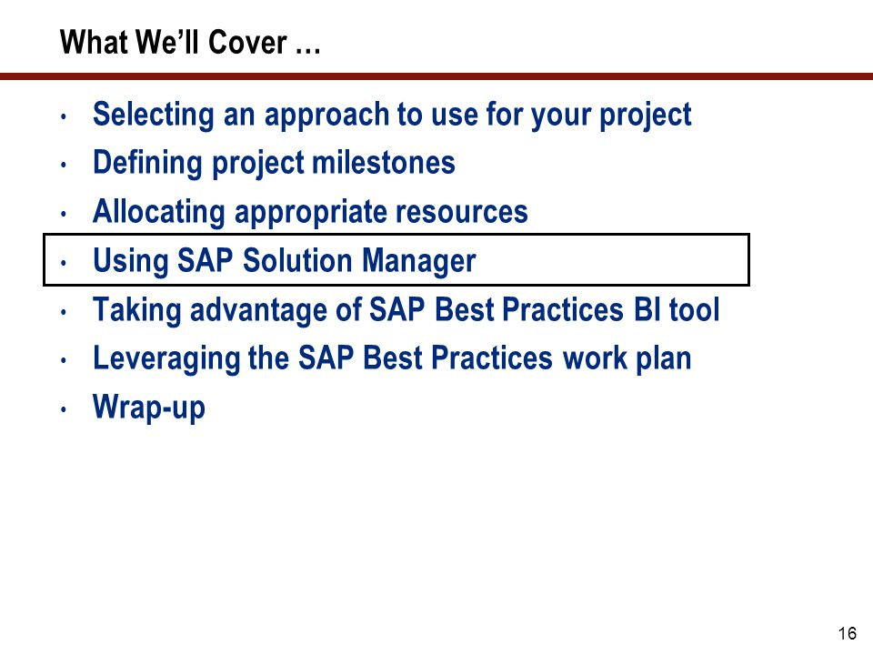 16 Selecting an approach to use for your project Defining project milestones Allocating appropriate resources Using SAP Solution Manager Taking advant