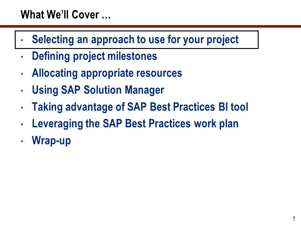 1 What We'll Cover … Selecting an approach to use for your project Defining project milestones Allocating appropriate resources Using SAP Solution Man