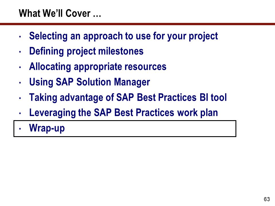 63 Selecting an approach to use for your project Defining project milestones Allocating appropriate resources Using SAP Solution Manager Taking advant
