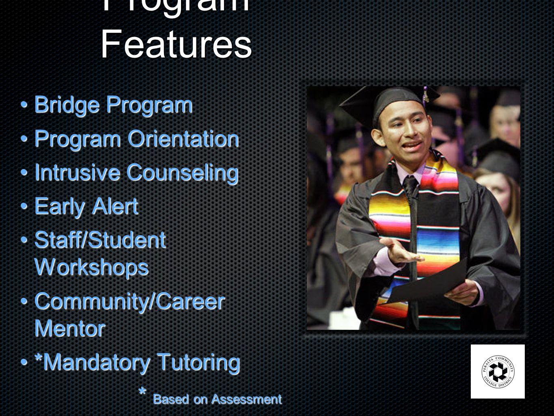 Program Features Bridge ProgramBridge Program Program OrientationProgram Orientation Intrusive CounselingIntrusive Counseling Early AlertEarly Alert S