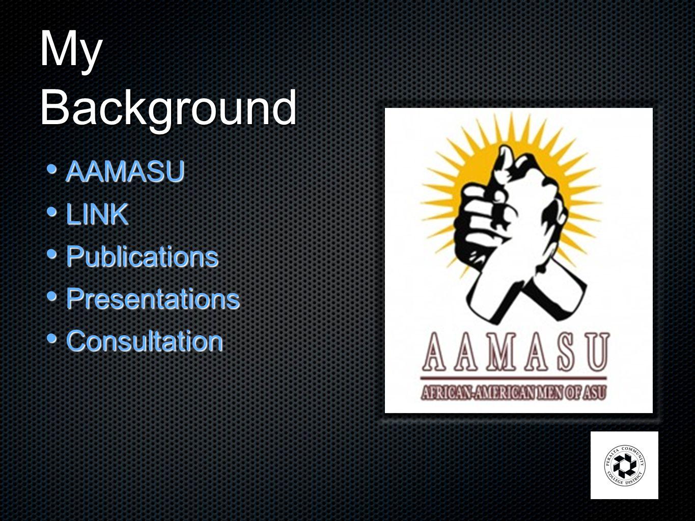 My Background AAMASU AAMASU LINK LINK Publications Publications Presentations Presentations Consultation Consultation