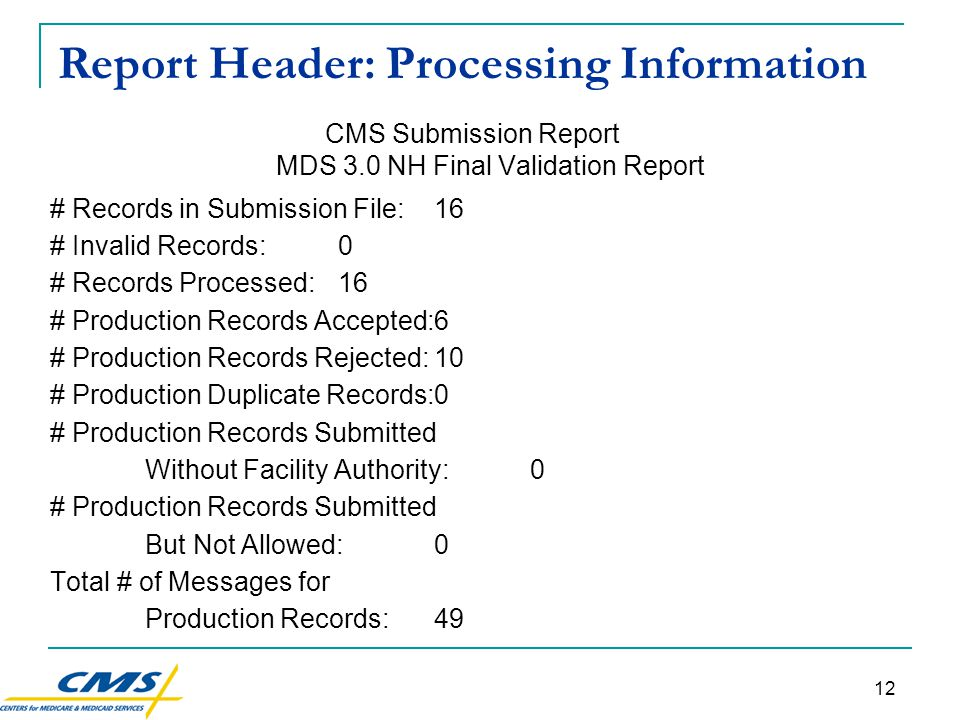12 Report Header: Processing Information CMS Submission Report MDS 3.0 NH Final Validation Report # Records in Submission File:16 # Invalid Records:0 # Records Processed:16 # Production Records Accepted:6 # Production Records Rejected:10 # Production Duplicate Records:0 # Production Records Submitted Without Facility Authority:0 # Production Records Submitted But Not Allowed:0 Total # of Messages for Production Records:49