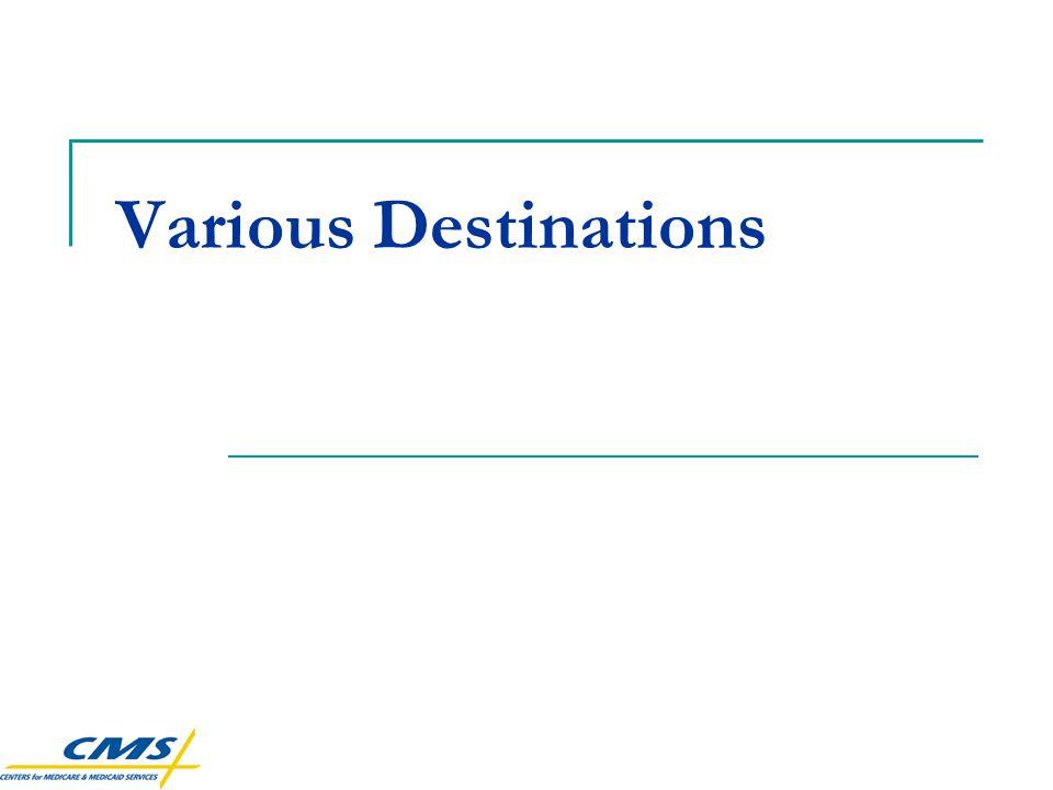 Various Destinations
