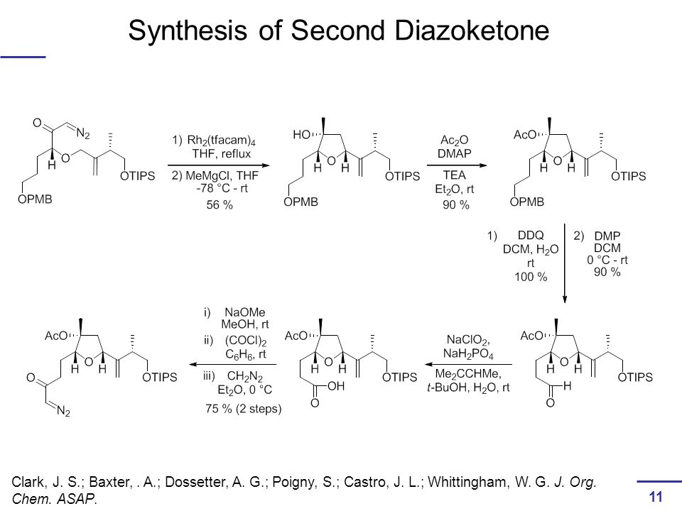 Synthesis of Second Diazoketone Clark, J. S.; Baxter,.