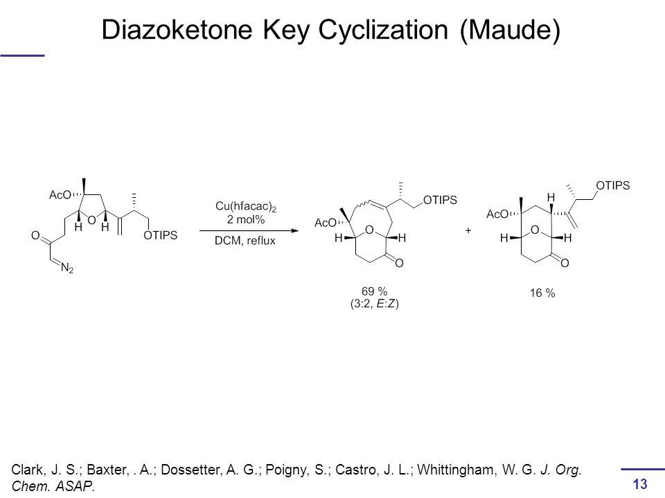 Diazoketone Key Cyclization (Maude) Clark, J. S.; Baxter,.