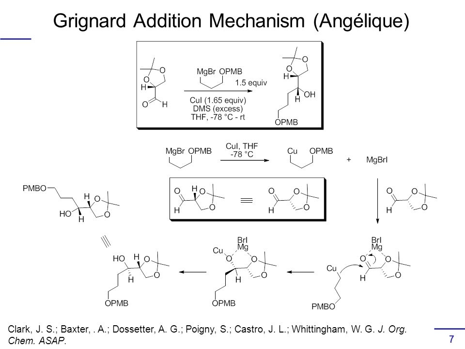 Grignard Addition Mechanism (Angélique) Clark, J. S.; Baxter,.