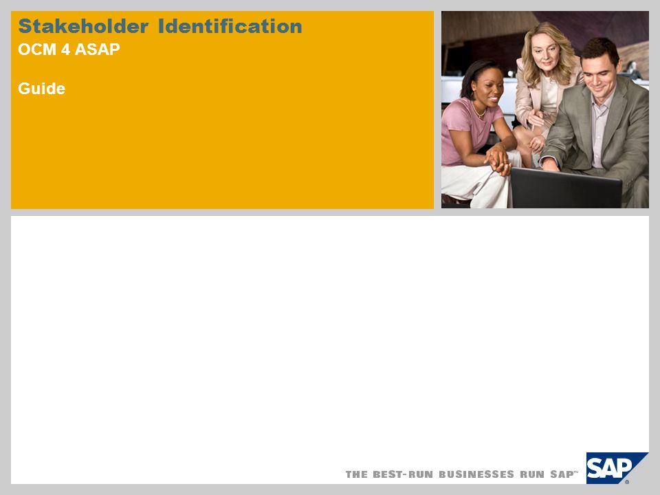 Stakeholder Identification OCM 4 ASAP Guide