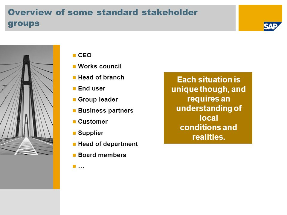 Overview of some standard stakeholder groups CEO Works council Head of branch End user Group leader Business partners Customer Supplier Head of depart