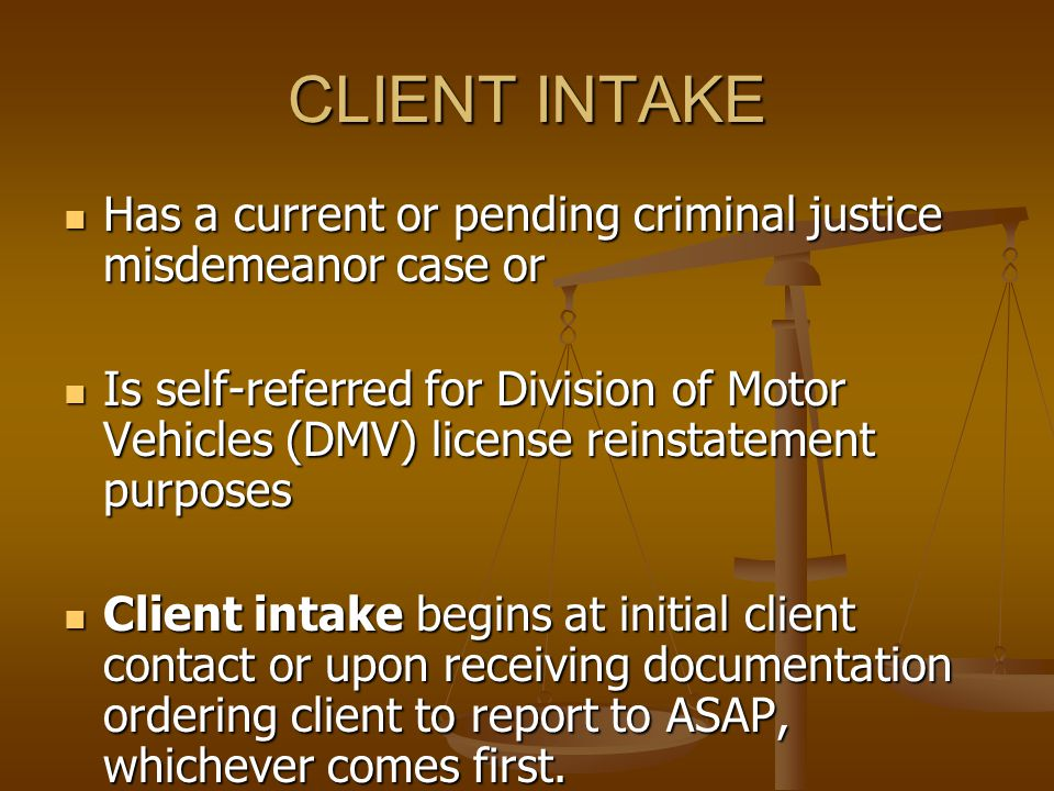 How are clients referred to ASAP Judgments set forth conditions imposed by the court when individuals are sentenced.