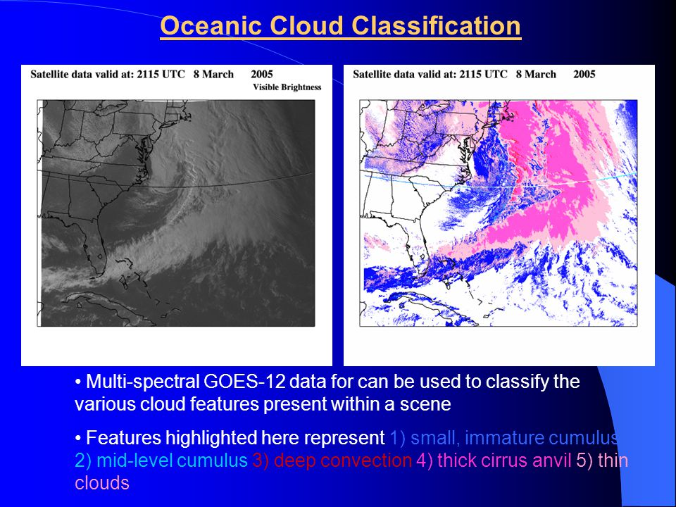 Oceanic Cloud Classification Multi-spectral GOES-12 data for can be used to classify the various cloud features present within a scene Features highlighted here represent 1) small, immature cumulus 2) mid-level cumulus 3) deep convection 4) thick cirrus anvil 5) thin clouds