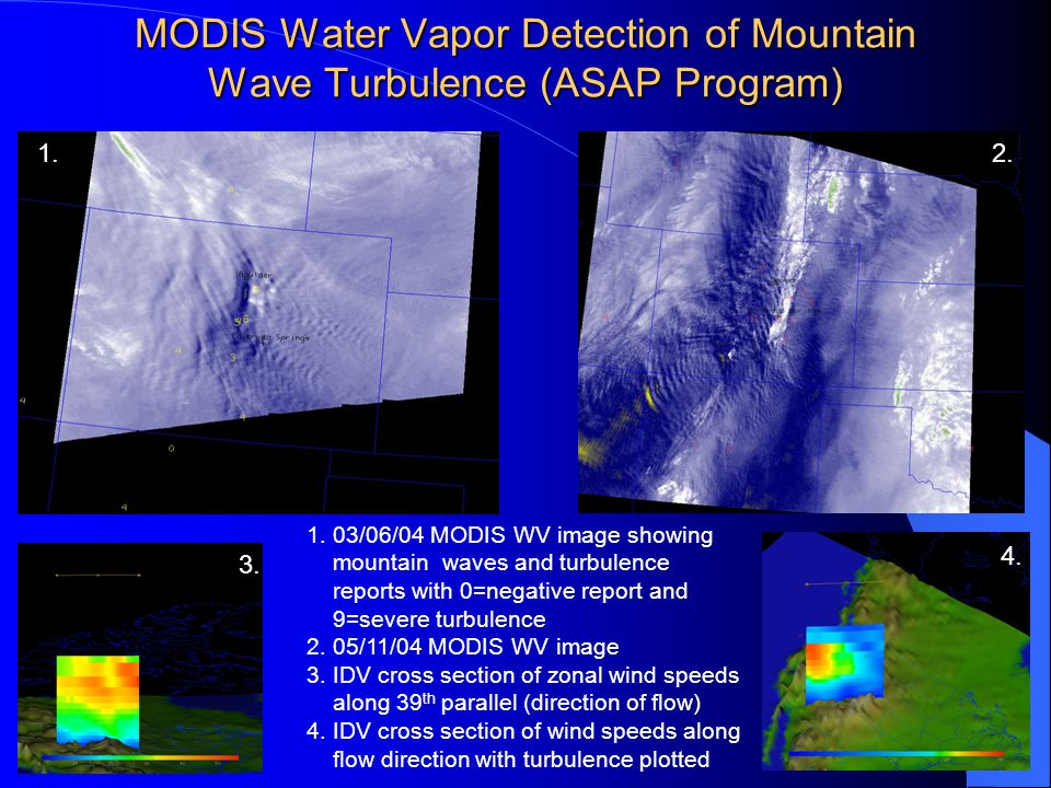 MODIS Water Vapor Detection of Mountain Wave Turbulence (ASAP Program) 1.2.