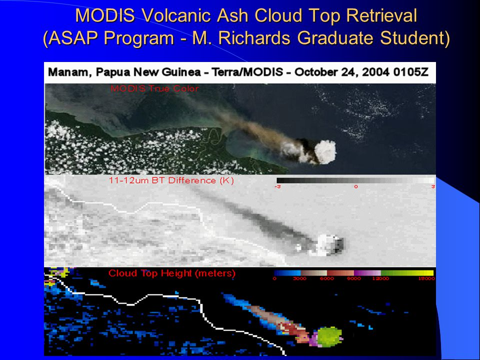 MODIS Volcanic Ash Cloud Top Retrieval (ASAP Program - M. Richards Graduate Student)