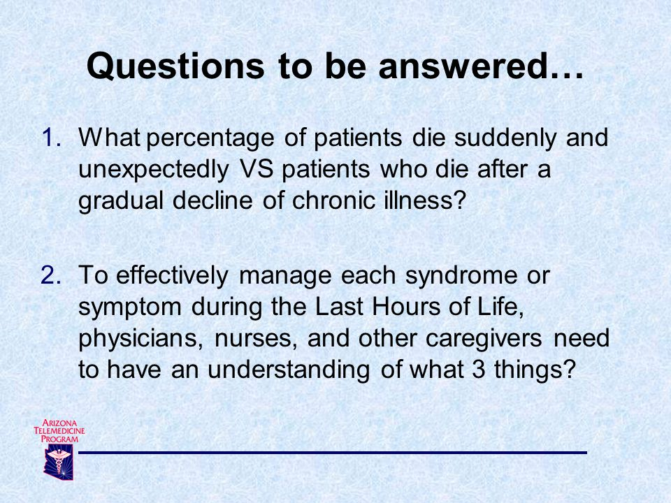 1.What percentage of patients die suddenly and unexpectedly VS patients who die after a gradual decline of chronic illness.